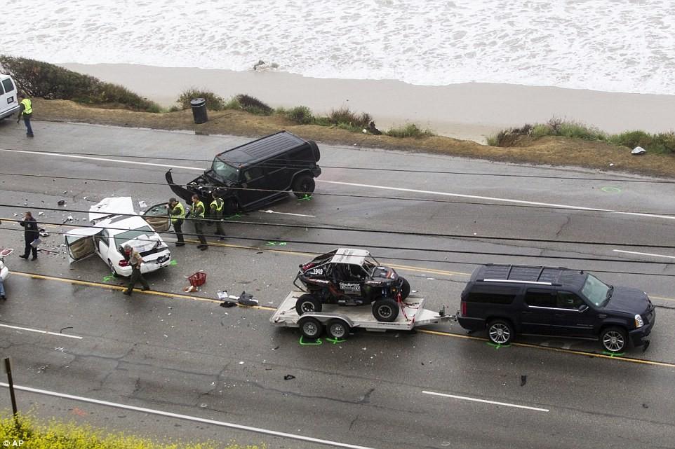 drone image of car crash